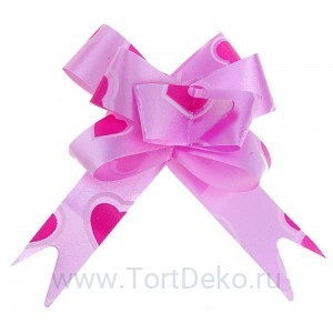 Бант-бабочка №1,2 рисунок сердце на розовом