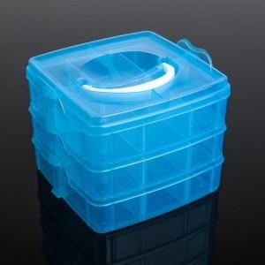 Бокс для хранения, 3 яруса 18 отделений, 15х15х12 см, цвета МИКС