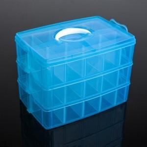 Бокс для хранения, 3 яруса 30 отделений, 25х17х18 см, цвета МИКС