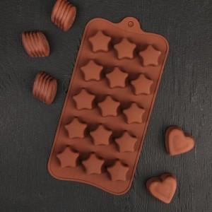 """Форма для льда и шоколада 15 ячеек 21х10 см """"Звездочки"""" цвет шоколадный"""