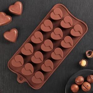 "Форма для льда и шоколада, 15ячеек, 22х10,5х1см ""Сердце"", шоколадная"