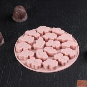 """Форма для льда и шоколада 17 ячеек """"Машинки"""" 12х1 см, цвет МИКС"""