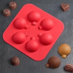 """Форма для льда и шоколада 6 ячеек 15x15x2 см """"Елочный шарик"""" цвет МИКС"""