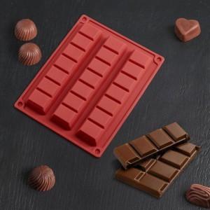 """Форма для льда и шоколада """"Плитка шоколада"""", 21 ячейка ,210*165*18 мм (180*40 мм)  цвет МИКС"""