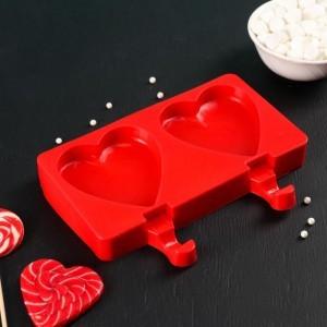 """Форма для леденцов и мороженого, 2 ячейки  19,5х14,5х2,5 см (8,4х9 см) """"Сердечко"""""""