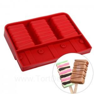 """Форма для леденцов и мороженого 3 ячейки 19,2х20,2х2,5 см """"Елочка"""", цвета МИКС"""