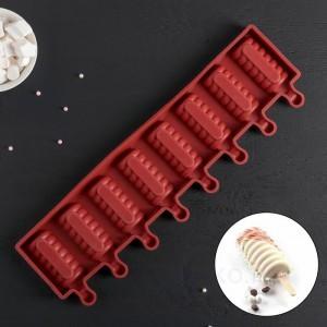 """Форма для леденцов и мороженого, 8 ячеек, 39х11,5х2,5 см (6,6х3,4 см) """"Моника"""""""