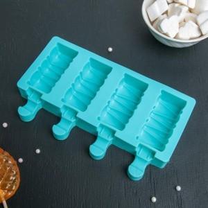 """Форма для леденцов и мороженого """"Венеция"""" 19,6x11x2,4 см,  4 ячейки (6,9х3 см), цвет МИКС"""