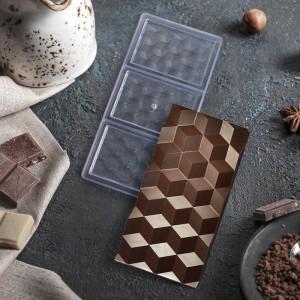 "Форма для шоколада 3 ячейки ""Плитка шоколада"" 33x16,5x2,5 см"