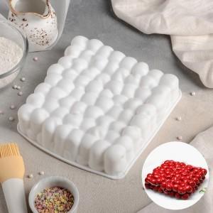 "Форма для выпечки 18,5х18,5х4,5см ""Пузыри"", цвет белый"
