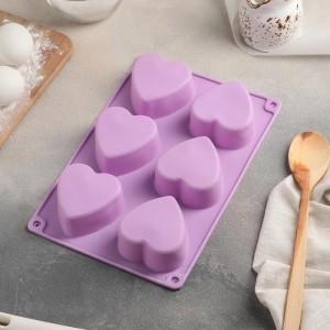 """Форма для выпечки 6 ячеек """"Сердце"""" 26,5х18х3,2 см (7,5х7,5 см) цвет МИКС"""