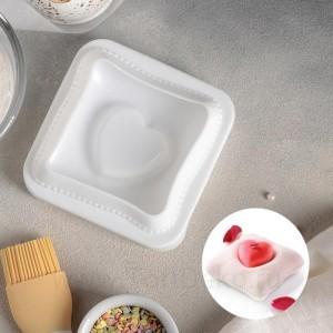 """Форма для выпечки и муссовых десертов 11,4х12х4,4 см """"Любовь в квадрате"""", цвет белый"""