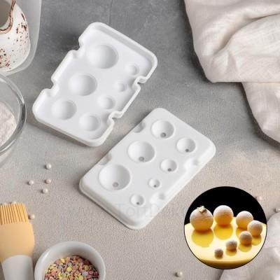 """Форма для выпечки и муссовых десертов, 2 части, """"Шарики"""" 13х8,5х3 см (d=1-3,5 см) цвет белый"""