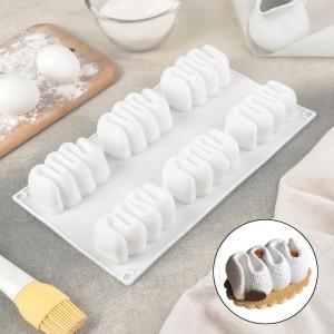 """Форма для выпечки и муссовых десертов 6 ячеек 29,5x17x3,5 см (7,8х4,4 см) """"Ванилла"""""""
