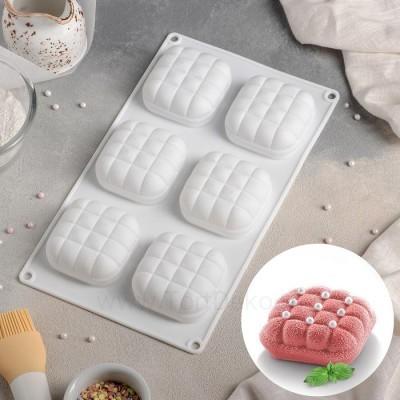 """Форма для выпечки и муссовых десертов 6 ячеек 29х17х3 см (6,4х6,4 см) """"Перина"""", цвет белый"""