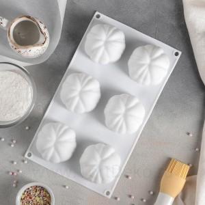 """Форма для выпечки и муссовых десертов 6 ячеек 30х17х5 см (6,7х6,7 см) """"Цветок"""", цвет белый"""