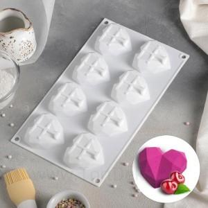 """Форма для выпечки и муссовых десертов """"Сердце"""" 290*170*20 мм, 8 ячеек, цвет белый"""