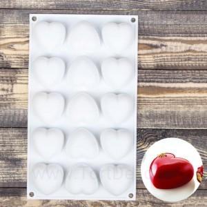 """Форма для выпечки и муссовых десертов """"Сердце"""", 298*173*30 мм ,15 ячеек, цвет белый"""