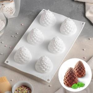 """Форма для выпечки и муссовых десертов """"Шишка"""" 27х16,8х7 см ,  6 ячеек (d 5см), цвет белый"""