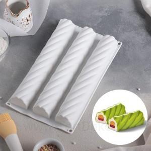 """Форма для выпечки и муссовых десертов  """"Жгут"""", 30х16х3,5 см,  3 яч. (26,7х4,3см) цвет белый"""