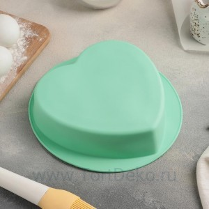 """Форма для выпечки """"Сердце. Круг"""" 22х20х5 см,  внутр.размер 17х19,5х5 см, цвета МИКС"""