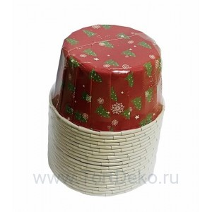 """Формы бумажные """"Маффин"""", 50х40 мм, 20 шт, с ламинацией (Красные с елочками)"""
