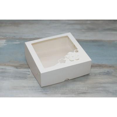 """К103 Коробка для зефира 200*200*70 мм с окном """"Три цветка"""", белый"""