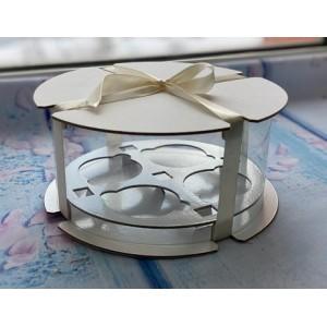 К122 Коробка на 4 капкейка прозрачная (тубус), d=200 мм, h=100 мм