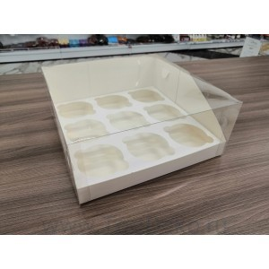 К131 Коробка на 9 капкейков с пластиковой крышкой, 235*235*100мм