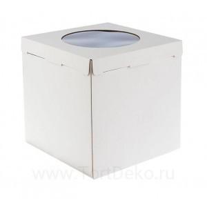 К14 Короб картонный белый с окном 300*300*300мм