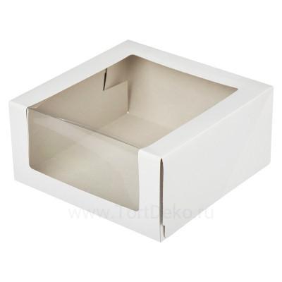 К16 Короб картонный белый с окном 225*225*110мм