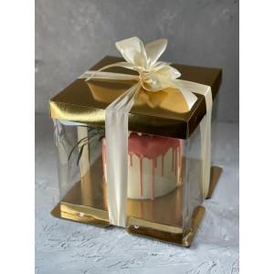 К18 Коробка под торт ПРЕМИУМ с пьедесталом прозрачная, 300*300*280мм (золото)