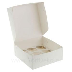 К20 Коробка на 6 капкейков, белая, 250*170*100 мм