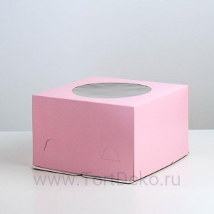 К26 Кондитерская упаковка с окном, розовый, 300*300*190мм