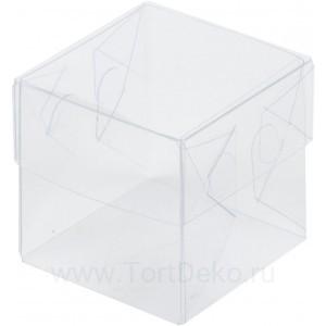 К31 Коробка прозрачная с пластиковой крышкой и пластиковым дном, 80*80*80 мм