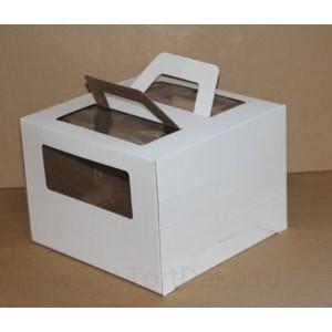К32 Короб картонный, белый, с окном, с ручками 240*240*200мм
