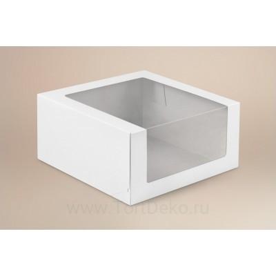 К39 Коробка под торт, белая, с окном,180*180*100мм