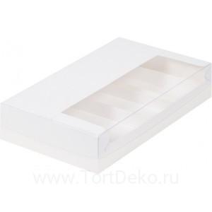 К41 Коробка для эклеров и эскимо с пластиковой крышкой 250*150*50 мм, белая (на 5 шт)