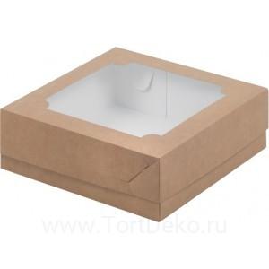 К43 Коробка для зефира и печенья с окном 200*200*70 мм, крафт