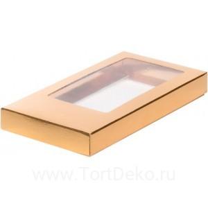 К46 Коробка для шоколадной плитки 180*90*17 мм, золото