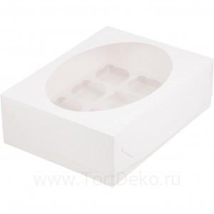 К49 Коробка на 12 капкейков с окном, белый, 320*235*100мм