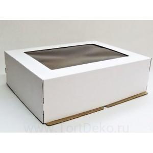 К52 Коробка под торт с окном, белая , 400*300*120мм