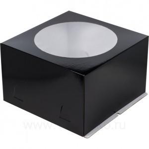 К53 Коробка под торт с окном, черная, 300*300*190мм