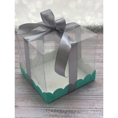 К54 Коробка под торт с прозрачным куполом, тиффани, 150*150*140мм