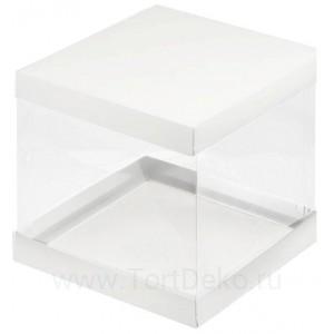 К55 Коробка под торт с прозрачными стенками, белая, 300*300*280мм