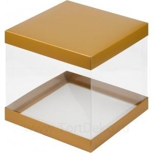К56 Коробка под торт с прозрачными стенками, золото матовая, 235*235*220мм