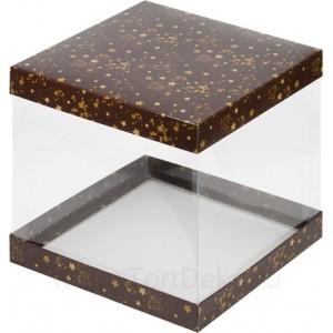 К57 Коробка под торт с прозрачными стенками, коричневая со звездами, 260*260*280мм