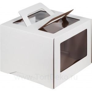 К58 Коробка под торт с ручкой и окном, белая, 240*240*240мм