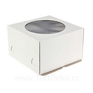 К60 Коробка для торта с окном, белая, 280*280*180мм