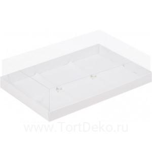 К63 Коробка под муссовые пирожные с пластиковой крышкой, 260*170*60мм, (белая)